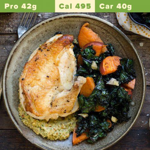 Chicken breast + chicken thigh, sweet potato mash, kale, spinach