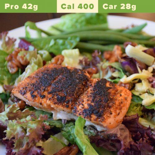 Salmon fillet, quinoa and toasted buckwheat salad, chickpeas, asparagus, Cajun roasted potatoes
